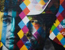 Un nuevo mural de Dylan en Minnesota, su estado natal, en EE.UU., apareció poco después del anuncio de que había ganado el Nobel de Literatura. (GETTY IMAGES)