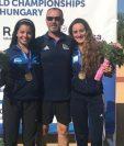 Sophie Hernández e Isabel Brand, después de subir al podio en Hungría. (Foto Prensa Libre: Cortesía COG)
