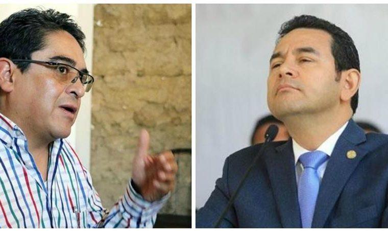 El presidente Jimmy Morales se ha referido en varias ocasiones al trabajo que efectúa Jordán Rodas al frente de la PDH. (Foto HemerotecaPL)