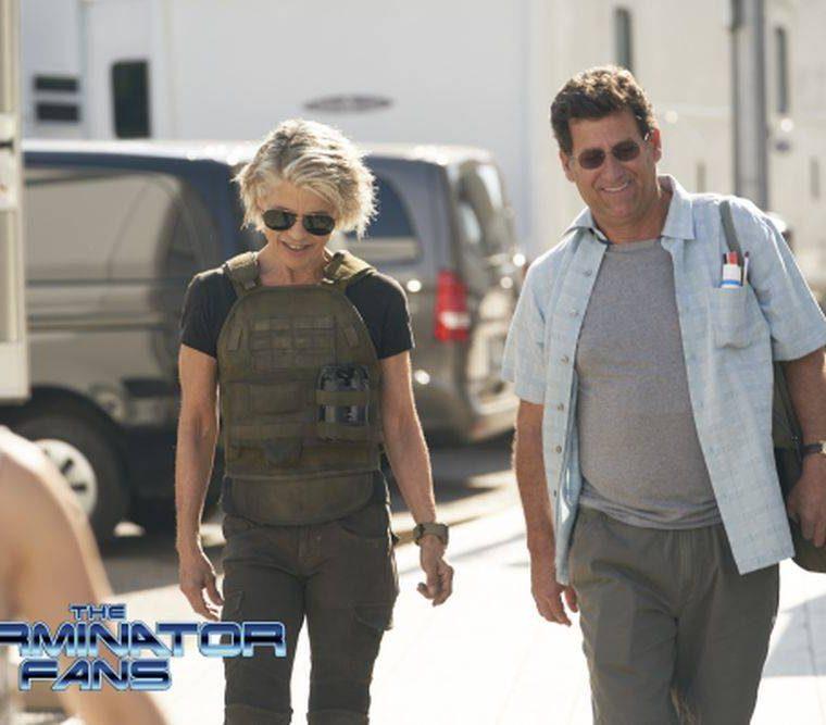 Linda Hamilton, durante la filmación de la nueva película de Terminator (Foto Prensa Libre: The Terminator Fans).