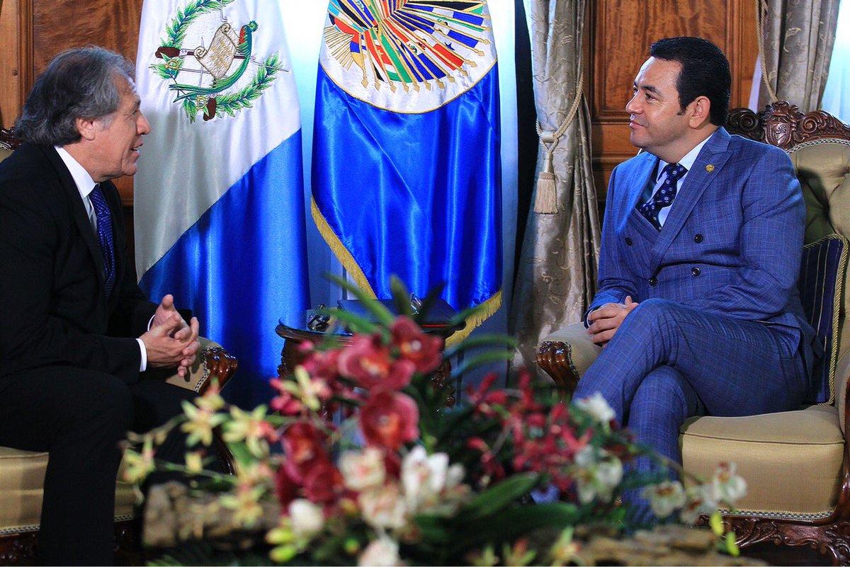 Luis Almagro y Jimmy Morales se reunieron en privado en la oficina presidencial del Palacio Nacional de la Cultura. (Foto Prensa Libre: Presidencia)