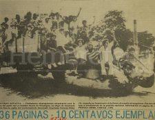 La portada de Prensa Libre del 20 de julio de 1979 informaba sobre el triunfo de la revolución que derrocó al dictador Anastasio Somoza Debayle en Nicaragua. (Foto: Hemeroteca PL)