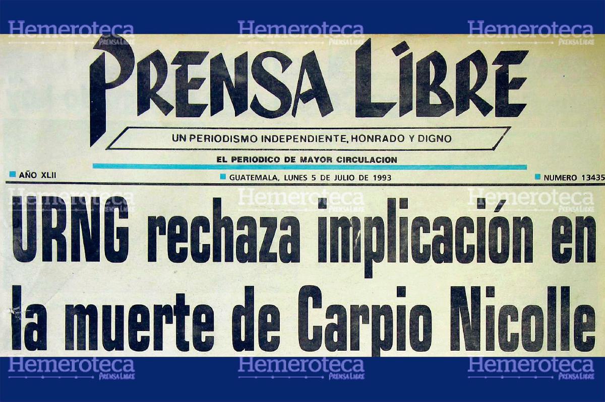 URNG rechaza implicación en muerte de Carpio