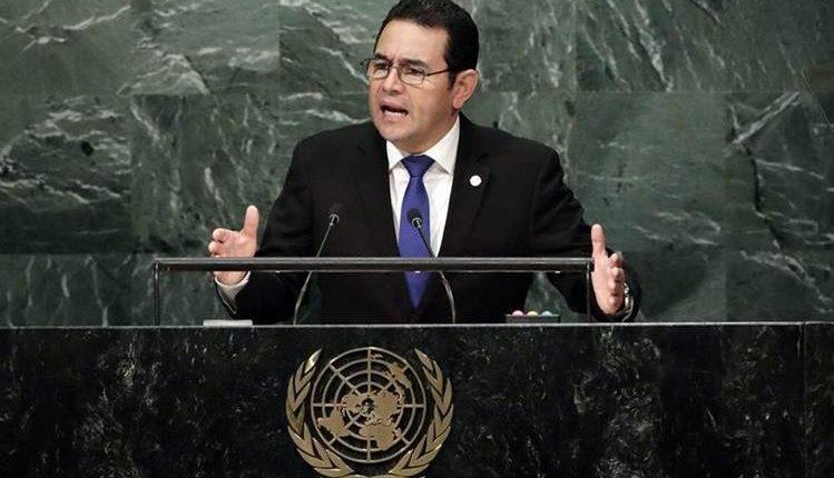 El presidente Jimmy Morales durante su discurso en la 72 Asamblea General de la ONU, en septiembre del 2017. (Foto Prensa Libre: Hemeroteca PL)