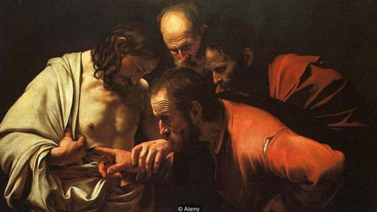 """Caravaggio usó el rojo cochinilla como un elemento esencial de su estilo, creando un contraste dramático en su """"Incredulidad de Santo Tomás"""". ALAMY"""