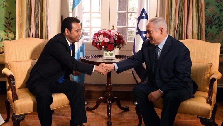 El presidente Jimmy Morales se reunió con el primer ministro israelí, Benjamín Netanhayu, el pasado 4 de marzo. (Foto Prensa Libre: Presidencia)
