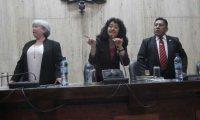 Jueces del Tribunal Primero A de Mayor Riesgo, Patricia Bustamante, Yassmin Barrios y Pablo Xitumul. (Foto Prensa Libre: Archivo)