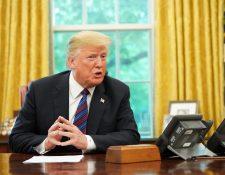El presidente de Estados Unidos, Donald Trump, anunció el acuerdo comercial entre México y Estados Unidos, y sugirió un cambio en el nombre. (Foto Prensa Libre: AFP)