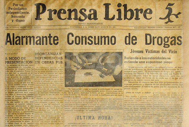 Portada de la primera edición de Prensa Libre, del 20 de agosto de 1951. (Foto: Hemeroteca PL)