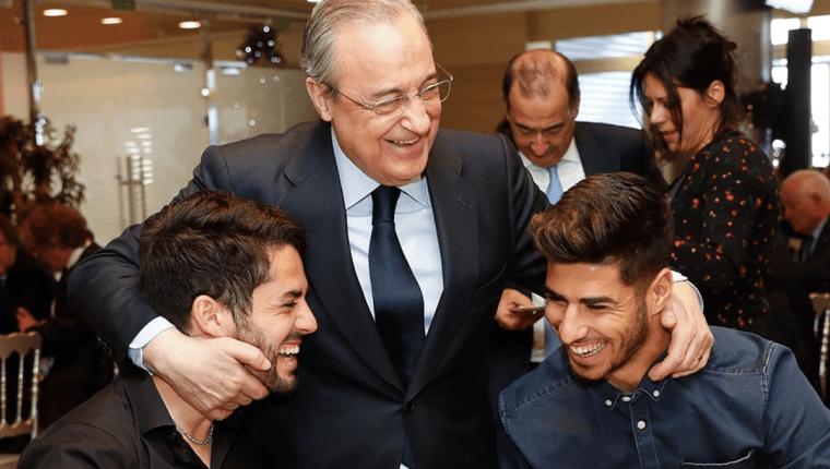 Florentino Pérez luce feliz durante la cena de Navidad del Real Madrid. (Foto Prensa Libre: Real Madrid)
