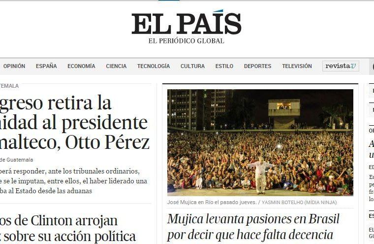 Portada del diario El País.