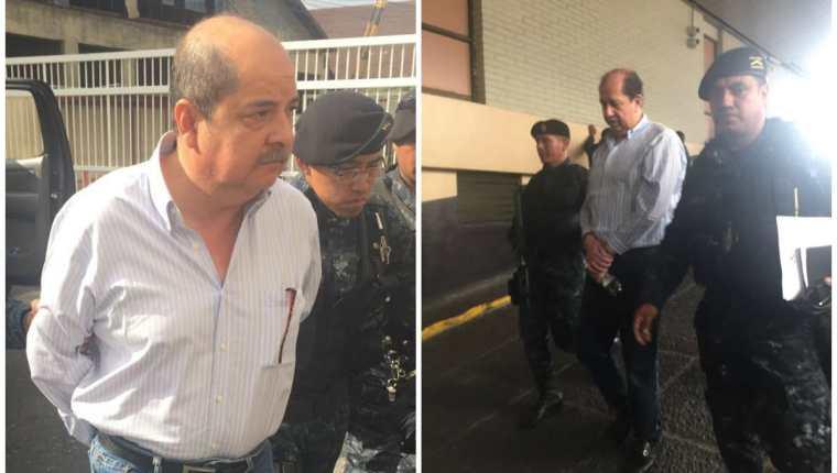 Alfredo Rabbé Tejada y Luis Mijangos llegan a la Torre de Tribunales. (Foto Prensa Libre: Érick Ávila)