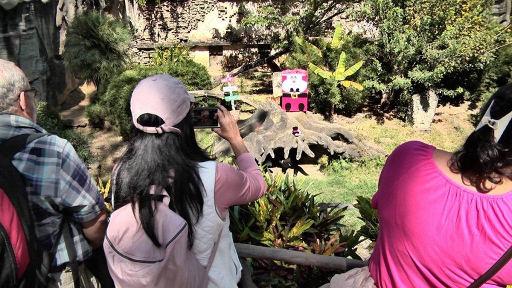 Visitantes inmortalizan con fotografías la entrega de regalos.