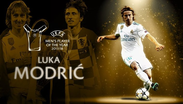 Luka Modric fue nombrado el mejor jugador de la UEFA. (Foto Prensa Libre: Twitter @ChampionsLeague)