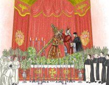 Ilustración que recrea el momento de la consagración de Jesús de la Merced el 5 de agosto de 1717. Esta es la primera vez que se realiza en América. (Ilustración: Diego Sac)