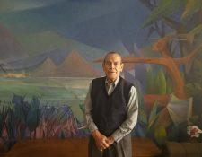 El Popol Vuh inspiró al pintor a crear el mural que sobresale en la sala de su residencia. (Foto Prensa Libre: José Luis Escobar).