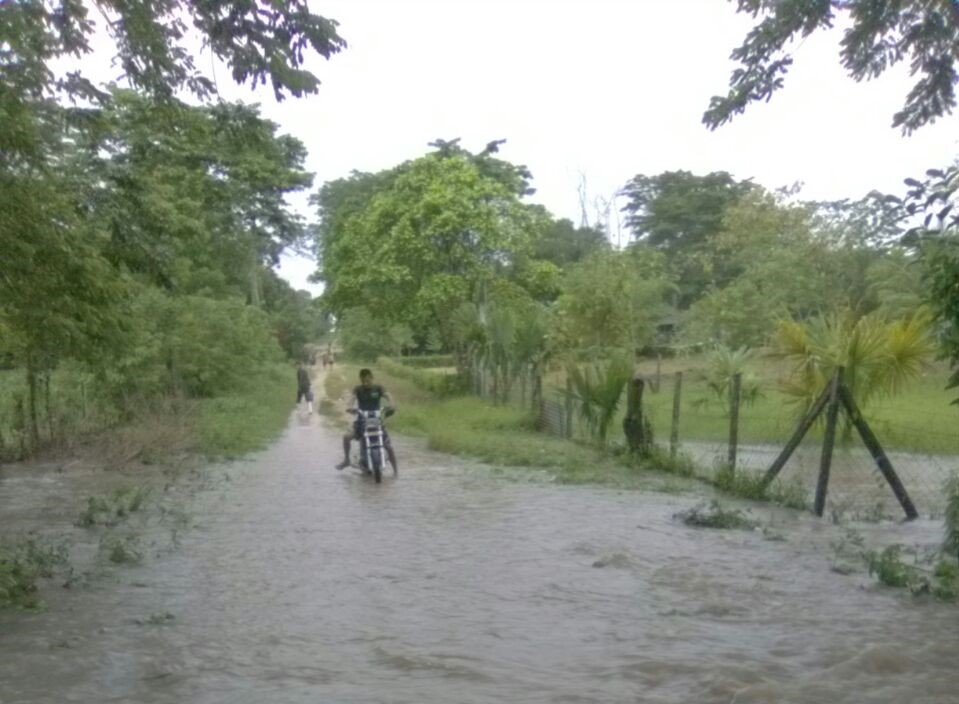 Caminos de En la comunidad El Mirador, Sayaxché, Petén, quedaron intransitables por las inundaciones. (Foto Prensa Libre: Conred)