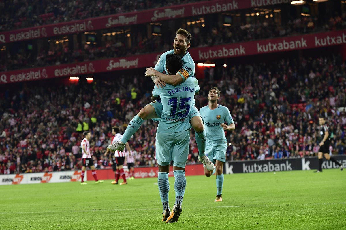 Messi volvió a ser clave para el Barcelona y el agentino mantiene su idilio en San Mamés. (Foto Prensa Libre: AP)