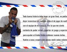 Blas Pérez dedicó esta carta a sus seguidores respecto a su fichaje por el Árabe Unido. (Foto Prensa Libre: Blas Pérez/Twitter)