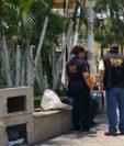 Lugar donde se registró el crimen, en el parque central de Escuintla. (Foto Prensa Libre: Enrique Paredes).