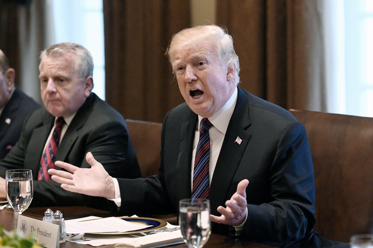 Donald Trump, dijo que planea que los militares estadounidenses se encarguen de vigilar y mantener segura la frontera con México hasta que se construya un muro en ese límite durante un almuerzo con los líderes de los Estados bálticos en la Casa Blanca. (Foto Prensa Libre:AFP).
