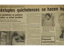 Nota del 25 de septiembre de 1978 sobre desaparición de bebés sextillizos y sus padres. (Foto: Hemeroteca PL)