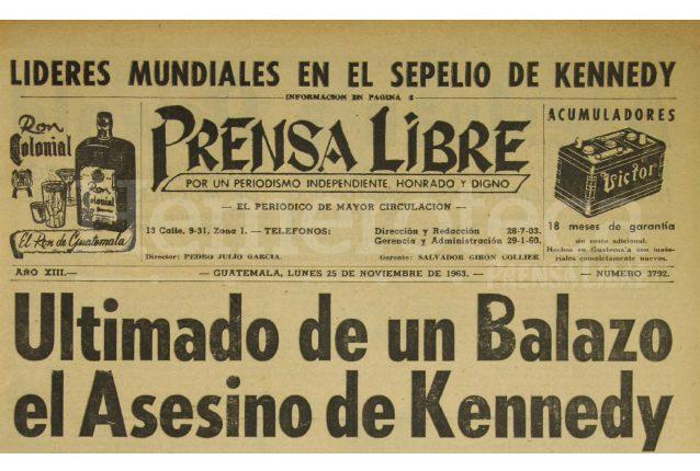 Titular de Prensa Libre del 25/11/1963. (Foto: Hemeroteca PL)