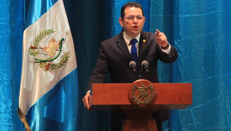 El presidente Jimmy Morales durante una actividad en el Teatro Nacional el pasado 6 de julio. (Foto Prensa Libre: Hemeroteca PL).