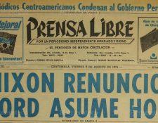 Portada de Prensa Libre con la noticia de la renuncia de Richard Nixon. (Foto: Hemeroteca PL)