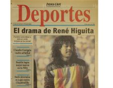 Portada de Deportes de Prensa Libre del 6/1/1994 daba a conocer el drama que vivía René Higuita, arquero colombiano. (Foto: Hemeroteca PL)