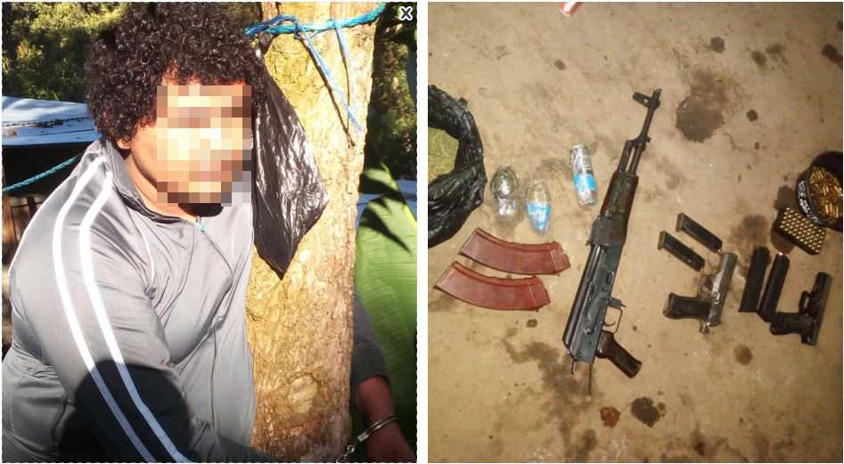 Rolando Enrique Galeno Canales fue detenido por la PNC en su vivienda, en San Lucas Sacatepéquez, donde fueron localizadas armas de fuego y droga. (Foto Prensa Libre: Cortesía PNC)