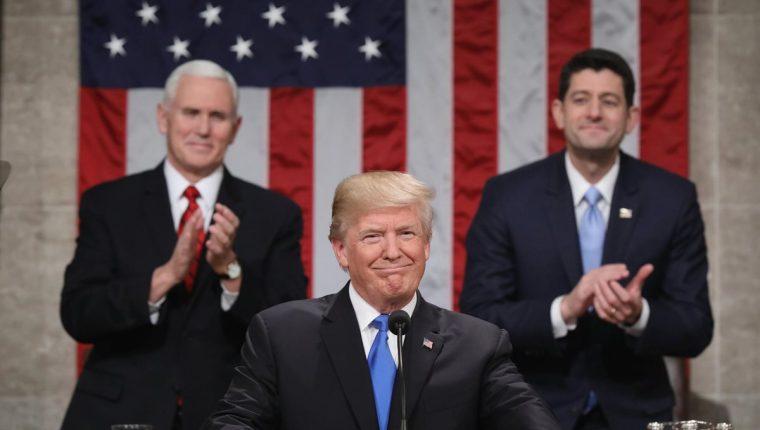 Donald Trump dio uno de los discursos más largos durante su mandato. (Foto Prensa Libre: AFP)