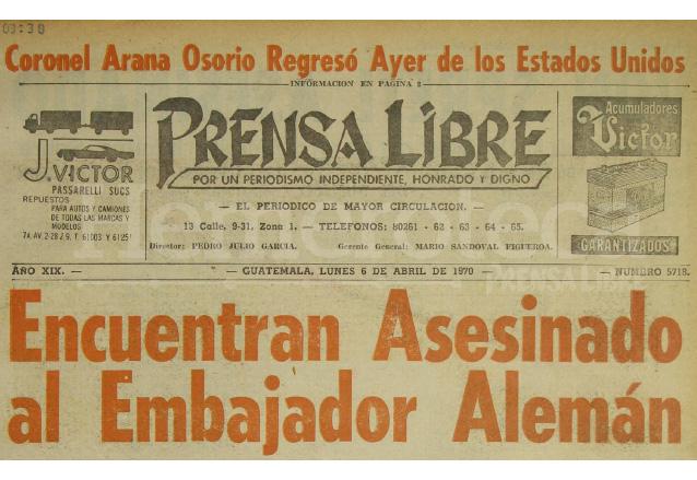 Titular de Prensa Libre del 6 de abril de 1970. (Foto: Hemeroteca PL)