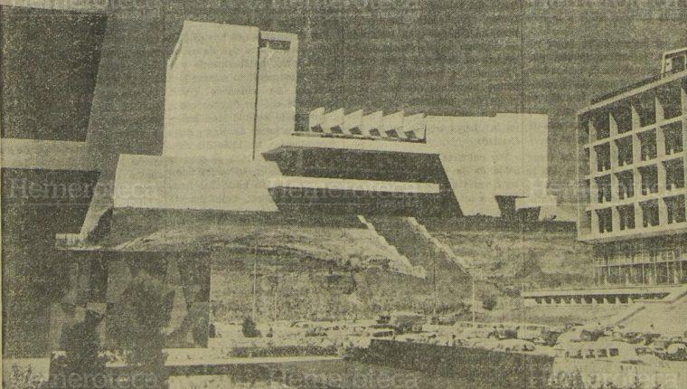 Fotomontaje presentado en 1962 para el proyecto de construcción del Teatro Nacional. Foto Hemeroteca PL