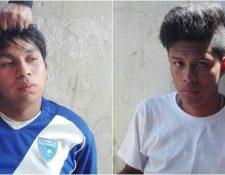 Dos de los supuestos extorsionistas detenidos por los vecinos del bulevar sur de Ciudad San Cristobal, Mixco. (Foto Prensa LIbre: Internet)