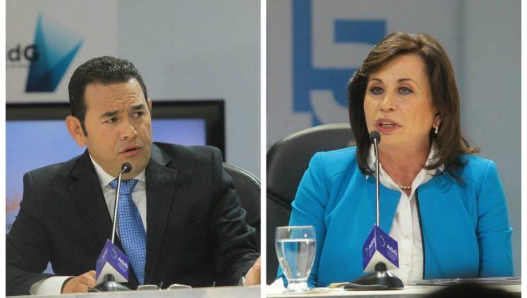 Los presidenciables debaten en el evento de AGG. (Foto Prensa Libre: Álvaro Interiano)