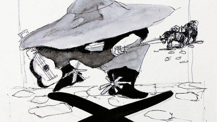 La figura del Sombrerón, que llena con su leyenda las calles de Guatemala, será parte de la muestra de Enrique Anleu Díaz. (Foto Prensa Libre, Cortesía Galería El Áttico)