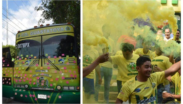 La fiesta de Guastatoya en el estadio David Cordón Hichos. (Foto Prensa Libre: Twitter @CD_Guastatoya)