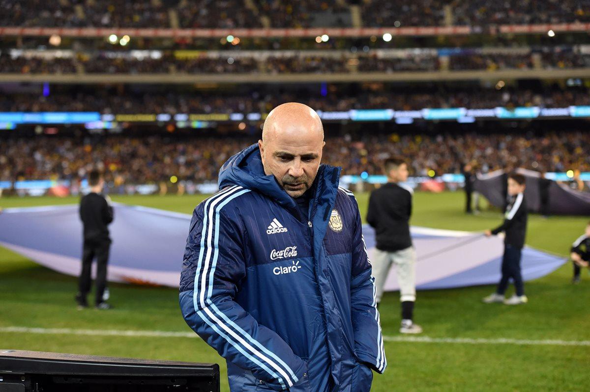 Jorge Sampaoli tendrá su segunda prueba al frente de Argentina contra Singapur. (Foto Prensa Libre: AFP)