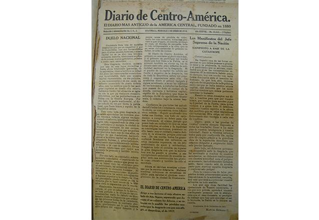 Reproducción de la edición del Diario de Centro América del 2 de enero de 1918, primera después del fatídico terremoto. (Foto: Hemeroteca PL)