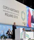 Andrzej Duda, presidente polaco, da un discurso en la apertura de la COP24. (Foto Prensa Libre: AFP)