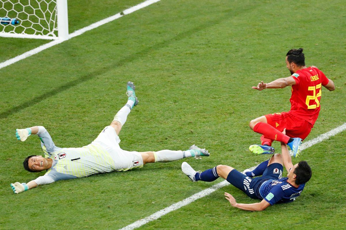 Nacer Chadli se convirtió en el héroe de Bélgica al marcar el gol histórico de la remontada frente a Japón. (Foto Prensa Libre: AFP)