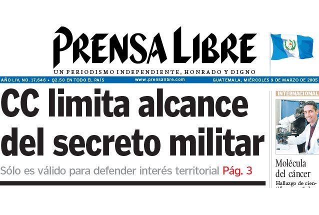 Titular de Prensa Libre del 9 de marzo de 2005. (Foto: Hemeroteca PL)