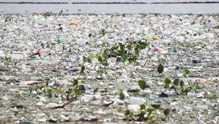 En el lago de Amatitlán desembocan la mayoría de los desechos del área metropolitana, principalmente plástico. (Foto Prensa Libre: Hemeroteca PL)
