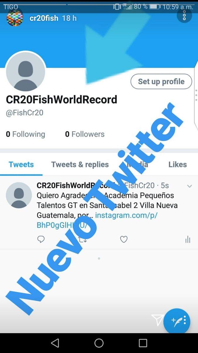 Ruiz compartió en sus historias de Instagram su nueva cuenta de Twitter. (Foto Prensa Libre: Instagram CR20Fish)