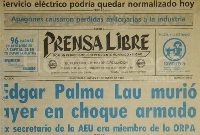 Titular de Prensa Libre del 21/01/1982. (Foto: Hemeroteca PL)