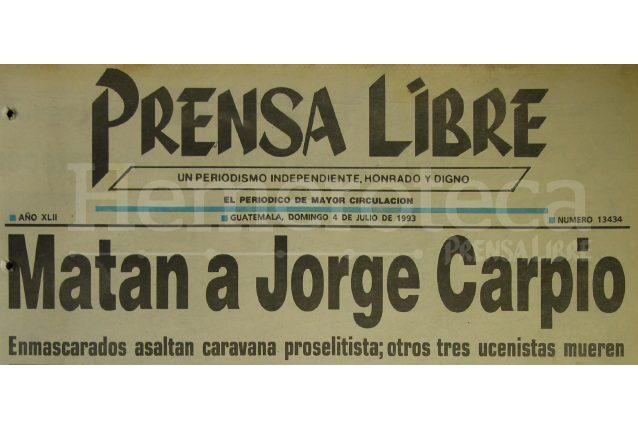 Titular de Prensa Libre del 4 de julio de 1993. (Foto: Hemeroteca PL)