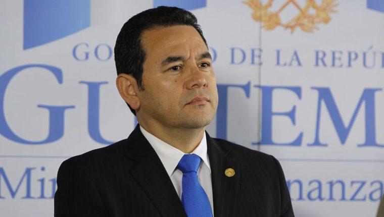 El presidente Jimmy Morales en conferencia de prensa. (Foto Prensa Libre: Hemeroteca PL)