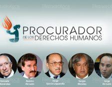 Personajes que han ocupado el cargo de Procurador de los Derechos Humanos. (Fotoarte: Hugo Cuyán Vásquez)