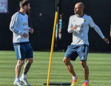 Javier Mascherano (d) y Lionel Messi (i) son los líderes de la Albiceleste en la Copa América Centenario (Foto Prensa Libre: AFP)